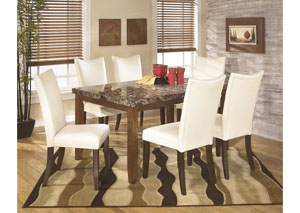 Lacey Rectangular Dining Table w/6 White Chairs