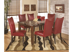 Lacey Rectangular Dining Table w/6 Red Chairs