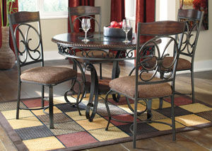 Glambrey Round Dining Table w/ 4 Side Chairs