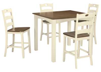 Image for Woodanville White/Brown Square Counter Table Set