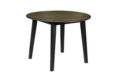 Image for Froshburg Grayish Brown/Black Round Drop Leaf Table