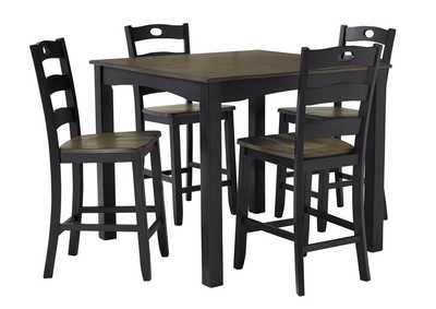 Image for Froshburg Grayish Brown/Black 5 Piece Square Counter Table Set