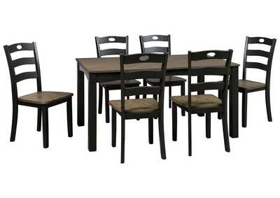 Froshburg Grayish Brown/Black 7 Piece Dining Room Table Set
