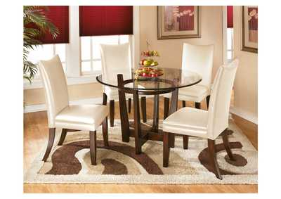 Charell Round Dining Table w/ 4 Ivory Side Chairs