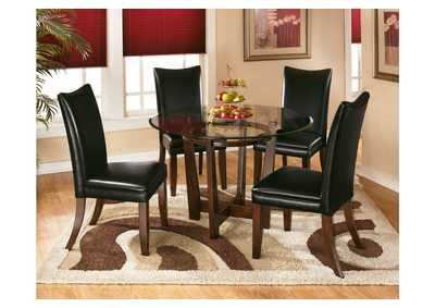 Charell Round Dining Table w/ 4 Black Side Chairs