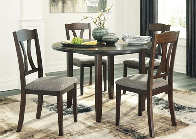 Charnalo Warm Brown Round DRM Table Set (5/CN)