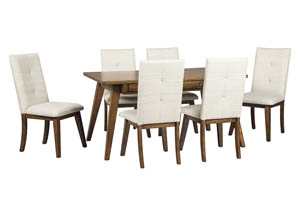 Image for Centiar Two-Tone Brown Rectangular Dining Room Table w/6 Upholstered Side Chairs