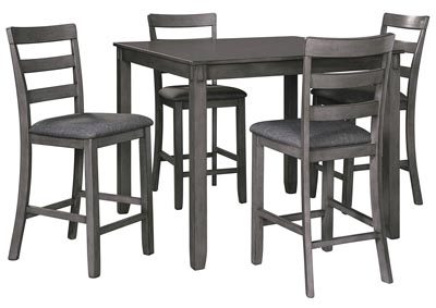 Image for Bridson Gray Square Counter Table w/Bar Stool (Set of 5)