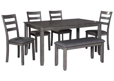 Bridson Gray Dining Table w/Chair and Bench (Set of 6)