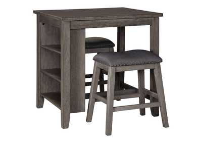 Caitbrook Gray Counter Table w/2 Bar Stool