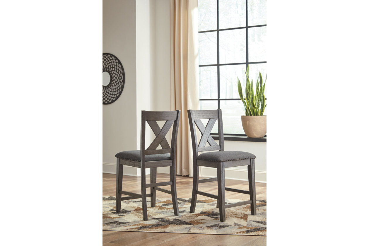 Caitbrook Dark Gray Upholstered Bar Stool (Set of 2),Signature Design By Ashley