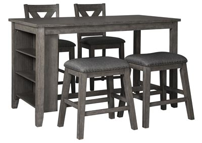 Caitbrook Dark Gray Dining Set w/2 Stools & 2 Bar Stools