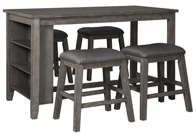 Caitbrook Dark Gray Dining Set w/4 Stools