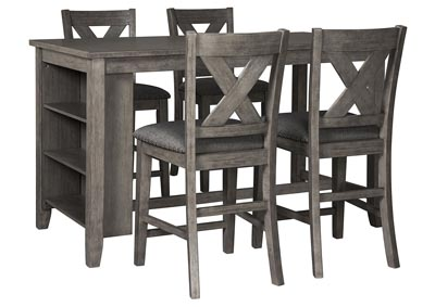 Caitbrook Dark Gray Dining Set w/4 Bar Stools