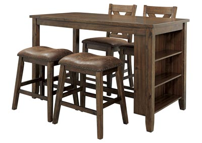 Image for Chaleny Warm Brown Counter Table w/2 Counter Chair and 2 Bar Stool