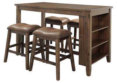 Chaleny Warm Brown Counter Table w/4 Bar Stool