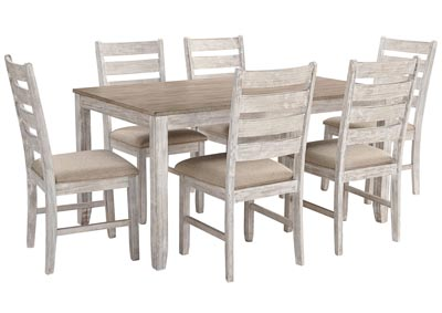 Skempton White/Light Brown 7 Piece Dining Table Set