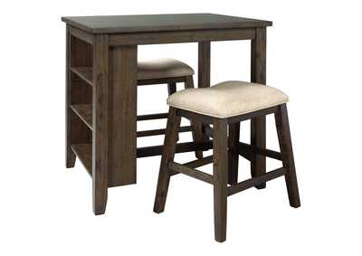 Image for Rokane Light Brown Counter Height Dining Room Table and Bar Stools (Set of 3)