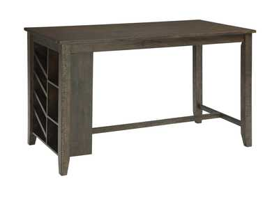 Rokane Brown Rectangular Counter Table w/Storage