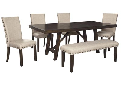 Rokane Light Brown Dining Table w/4 Side Chairs & Bench