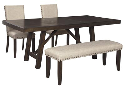Rokane Light Brown Dining Table w/2 Side Chairs & Bench