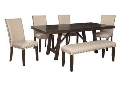 Image for Rokane Light Brown Dining Table w/4 Side Chairs & Bench