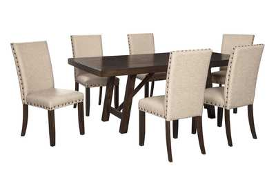 Rokane Light Brown Dining Table w/6 Side Chairs