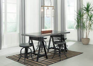Minnona Aged Steel Rectangular DRM Adjustable Dining Table w/4 Swivel Stools