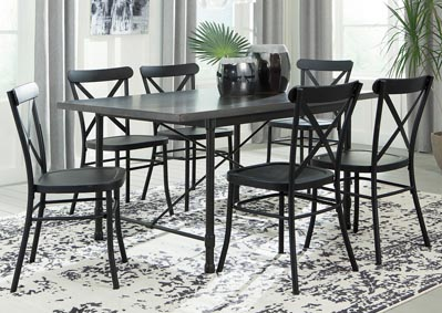 Minnona Aged Steel Rectangular Dining Table w/6 Black Side Chairs