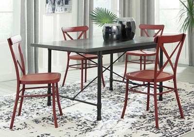 Minnona Aged Steel Rectangular Dining Table w/4 Red Side Chairs