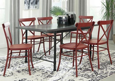 Minnona Aged Steel Rectangular Dining Table w/6 Red Side Chairs