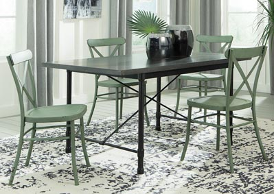 Minnona Aged Steel Rectangular Dining Table w/4 Light Green Side Chairs