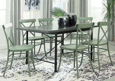 Minnona Aged Steel Rectangular Dining Table w/6 Light Green Side Chairs