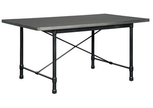 Minnona Aged Steel Rectangular Dining Table