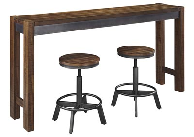 Torjin Two-tone Brown Long Counter Table w/2 Stools