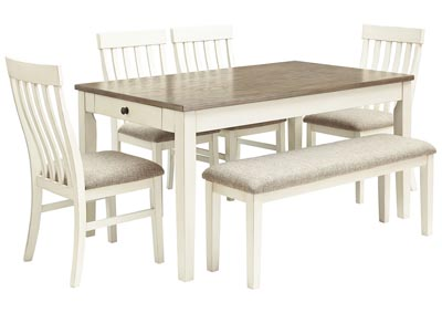 Bardilyn Dining Table w/4 Side Chairs & Bench