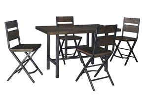 Kavara Medium Brown Rectangular Dining Room Counter Table w/ 4 Stools
