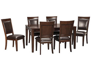 Shadyn Brown Rectangular Dining Room Extension Table w/6 Upholstered Side Chairs