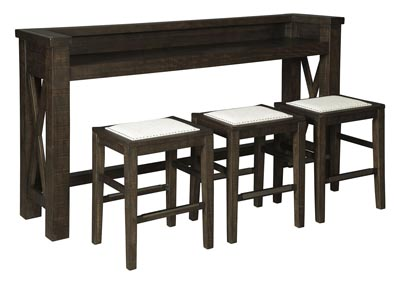 Image for Hallishaw Dark Brown Bar Table w/3 Bar Stool