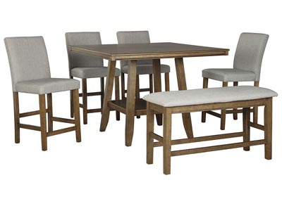 Glennox Counter Dining Table w/4 Bar Stool and Bench