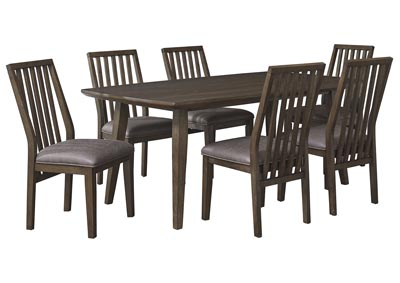 Kisper Brown Dining Table w/6 Side Chair