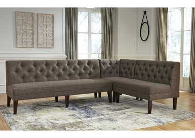 Tripton Medium Brown Corner Upholstered Bench,Signature Design By Ashley