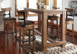 Pinnadel Bar Table w/4 Tall Upholstered Swivel Stools