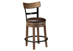 Pinnadel Light Brown Upholstered Swivel Barstool