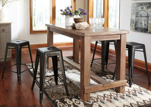 Pinnadel Rectangular Counter Table W/4 Gray Stools
