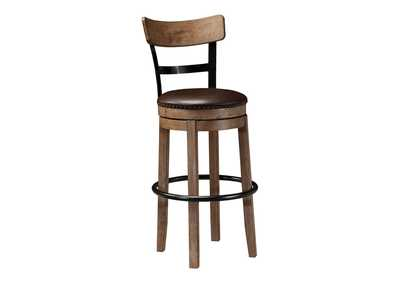 Image for Pinnadel Light Brown Tall Upholstered Swivel Barstool