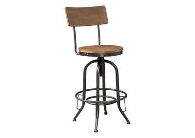 Image for Pinnadel Light Brown Pub Height Bar Stool (Set of 2)
