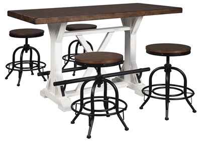 Valebeck Brown Counter Height Dining Table w/4 Counter Height Barstools