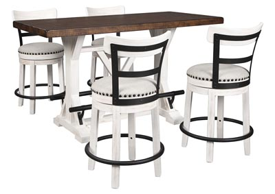 Image for Valebeck Brown Counter Height Dining Table w/4 Backed White Barstools