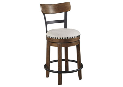 Valebeck Brown Upholstered Swivel Bar Stool